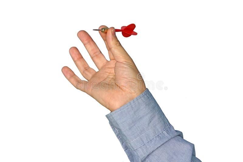 Zakenman Throwing Dart op Wit stock afbeelding