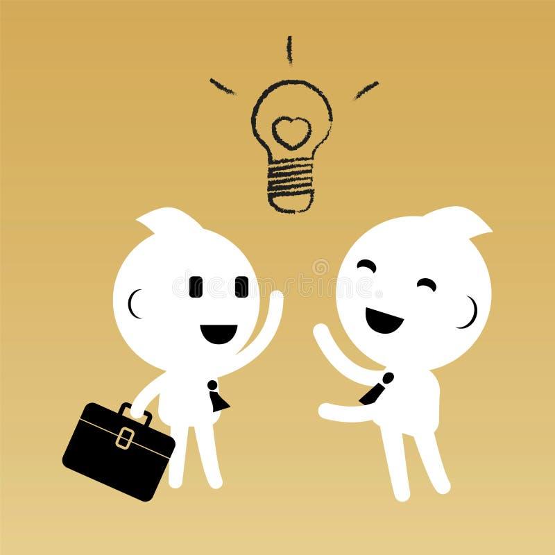 Zakenman twee bespreekt idee Abstract bedrijfsconcept royalty-vrije illustratie