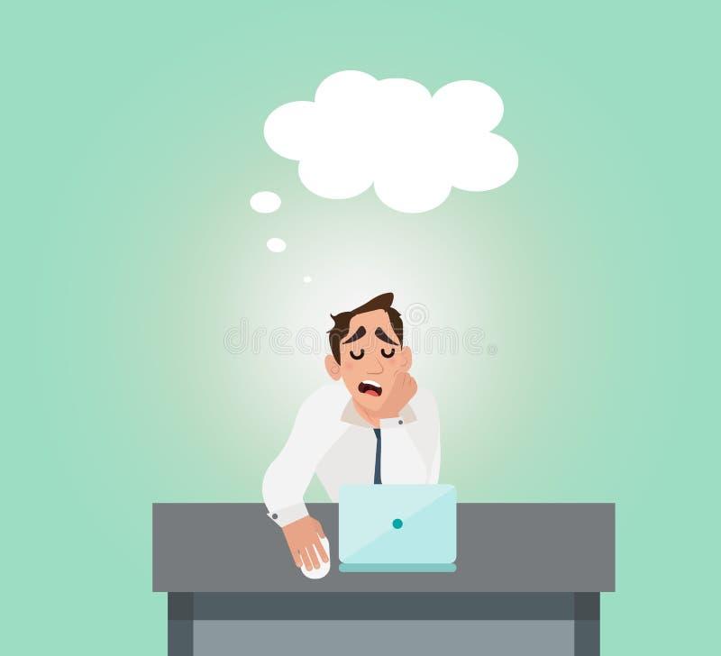 Zakenman van de spanning en de slaap op de baan wordt vermoeid die royalty-vrije illustratie