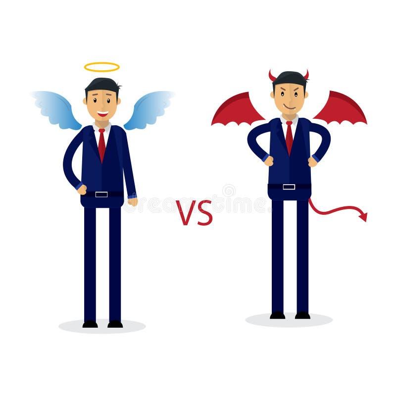 Zakenman Vector Illustration Engel versus Demonillustratie royalty-vrije illustratie