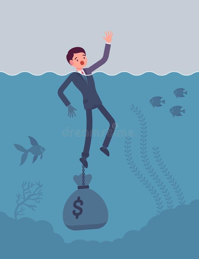 Zakenman verdrinking geketend met een dollarzak stock illustratie