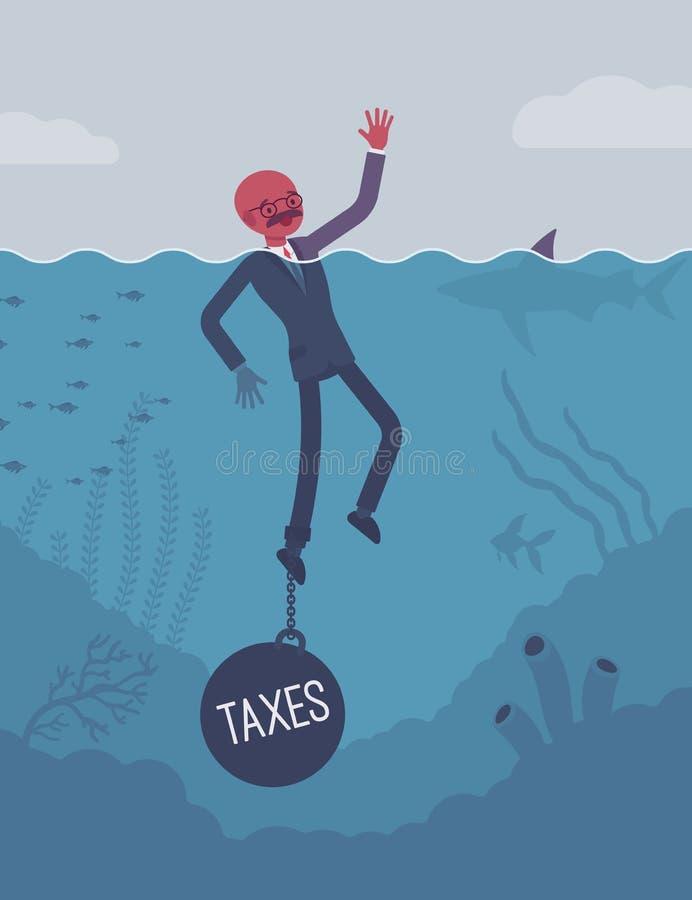 Zakenman verdrinking geketend met een gewichtsbelastingen stock illustratie