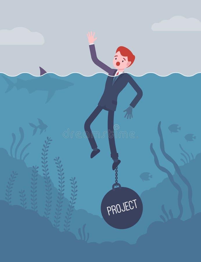Zakenman verdrinking geketend met een gewichtsproject vector illustratie