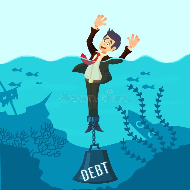 Zakenman verdrinking geketend met een gewichtsschuld, die geldproblemen, onbekwaam aan loonsrekeningen hebben, het slechte plan v stock illustratie