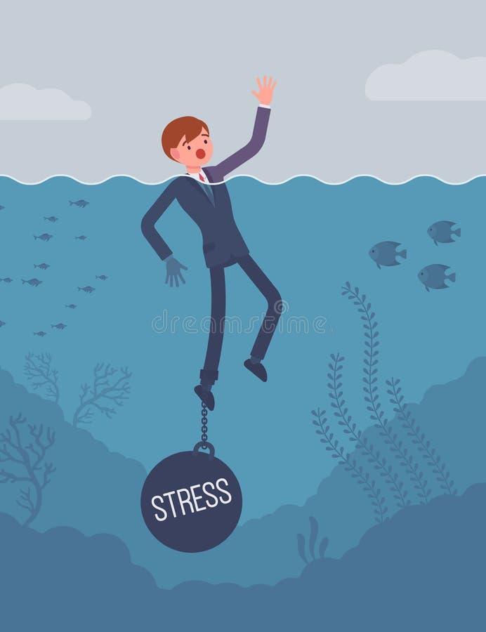 Zakenman verdrinking geketend met een gewichtsspanning stock illustratie
