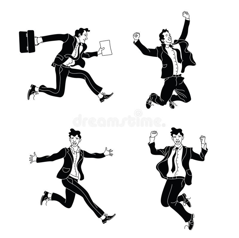 Zakenman in verschillend emoties en uitdrukkingen zwart silhouet Businessperson in toevallig bureau ziet eruit divers stelt het s vector illustratie