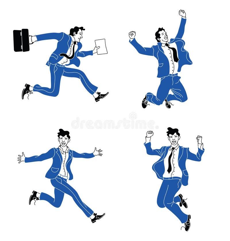 Zakenman in verschillende emoties en uitdrukkingen Businessperson in toevallig bureau kijkt blauw kostuum divers stelt het spring stock illustratie
