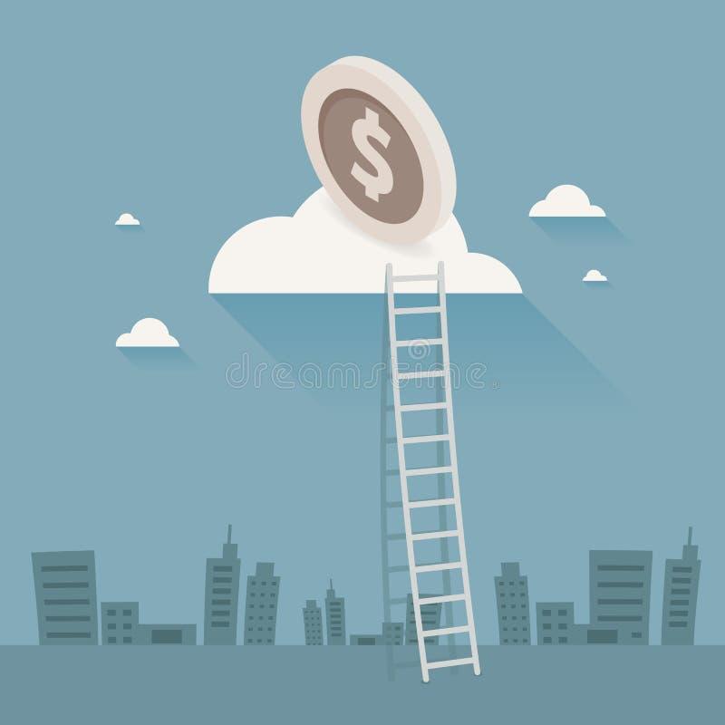 Zakenman Walking Up Stairs, geld Vectorillustratie, Ladde royalty-vrije illustratie