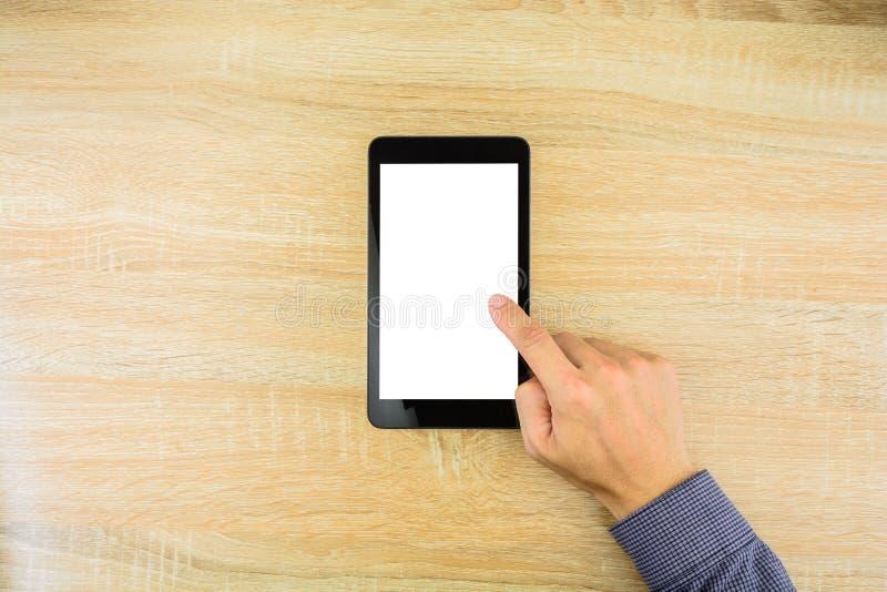 Zakenman wat betreft digitale tablet met het wit scherm stock fotografie