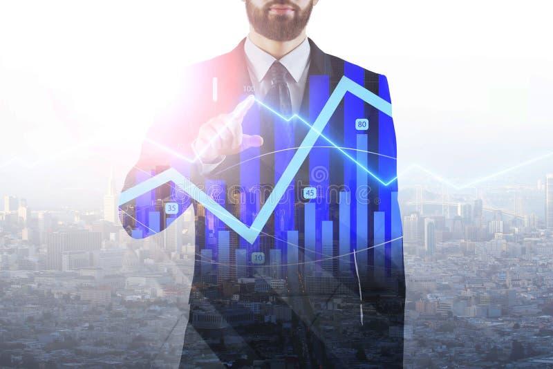 Zakenman wat betreft financiële grafiek vector illustratie