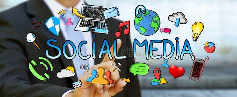 Zakenman wat betreft hand getrokken sociale media presentatie vector illustratie