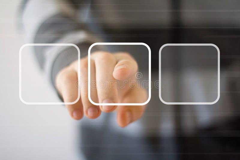 Zakenman wat betreft het digitale Web van interfaceknopen royalty-vrije stock afbeeldingen