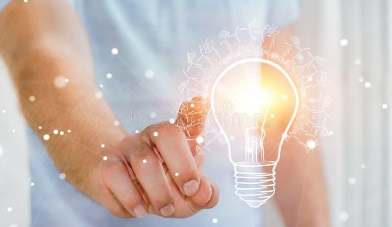 Zakenman wat betreft vernieuwbare eco lightbulb schets royalty-vrije illustratie