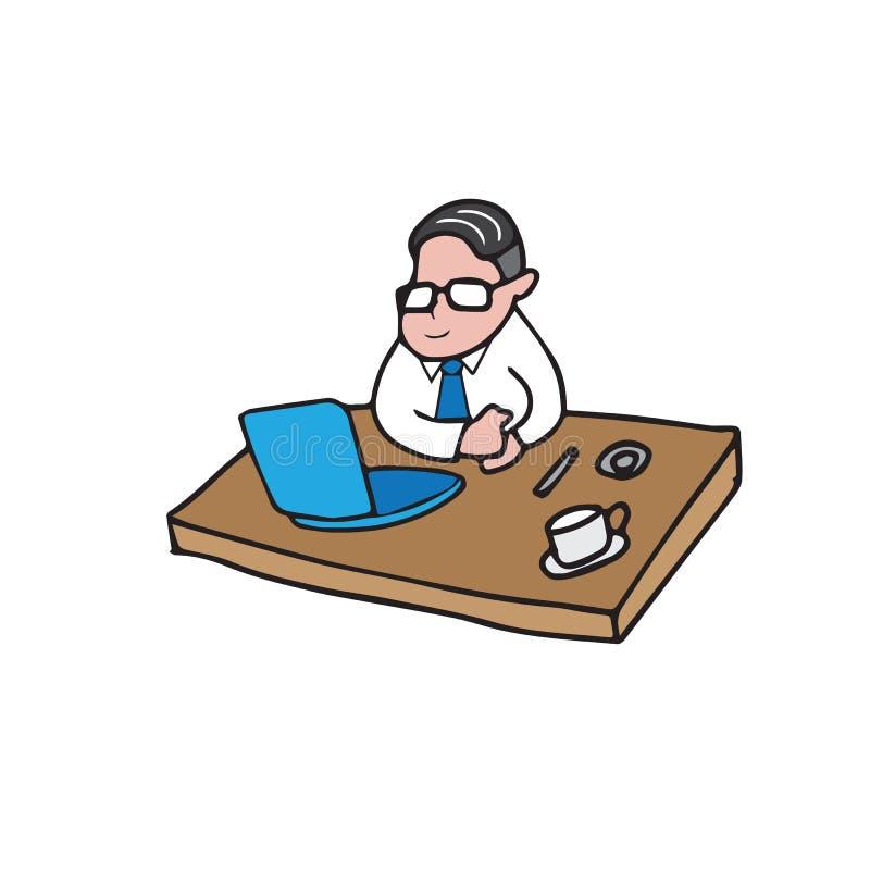 Zakenman werkend bureau stock illustratie