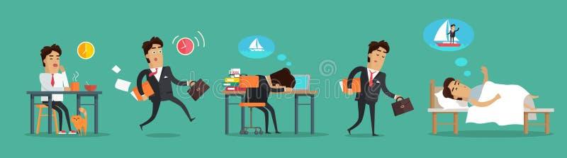 Zakenman Working Day De Slaap van het ontbijtwerk vector illustratie