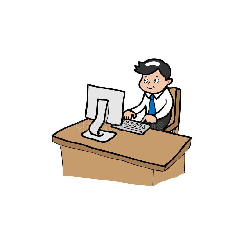 Zakenman Works On Computer vector illustratie
