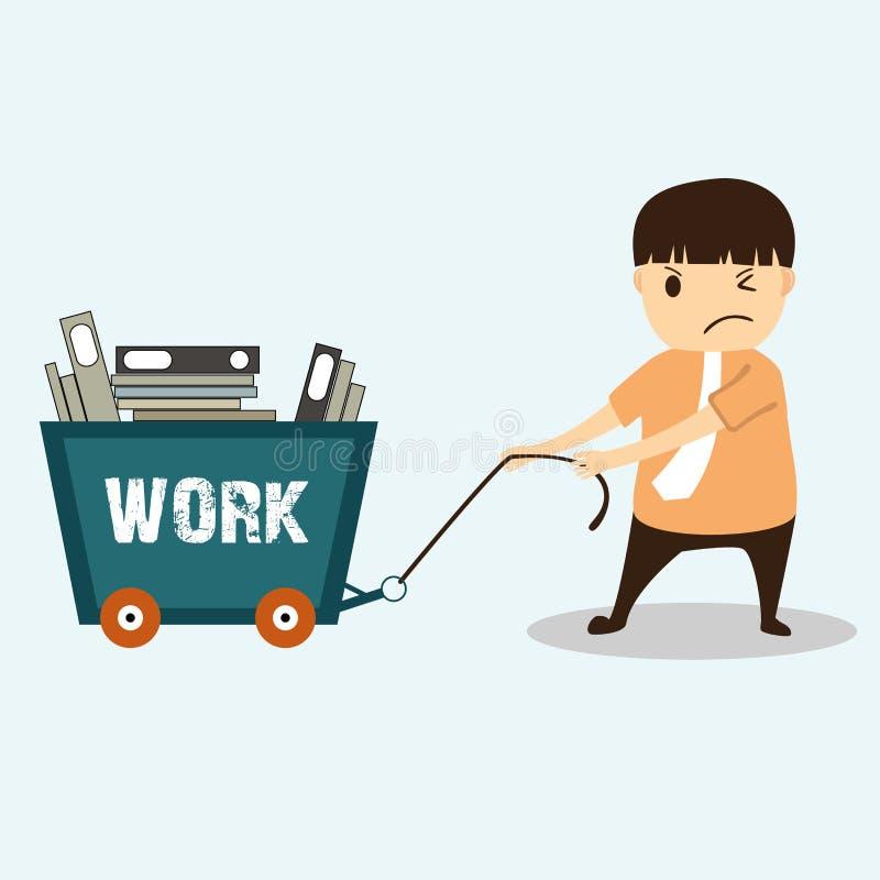 Zakenmanbeeldverhaal op het werk hard concept stock illustratie