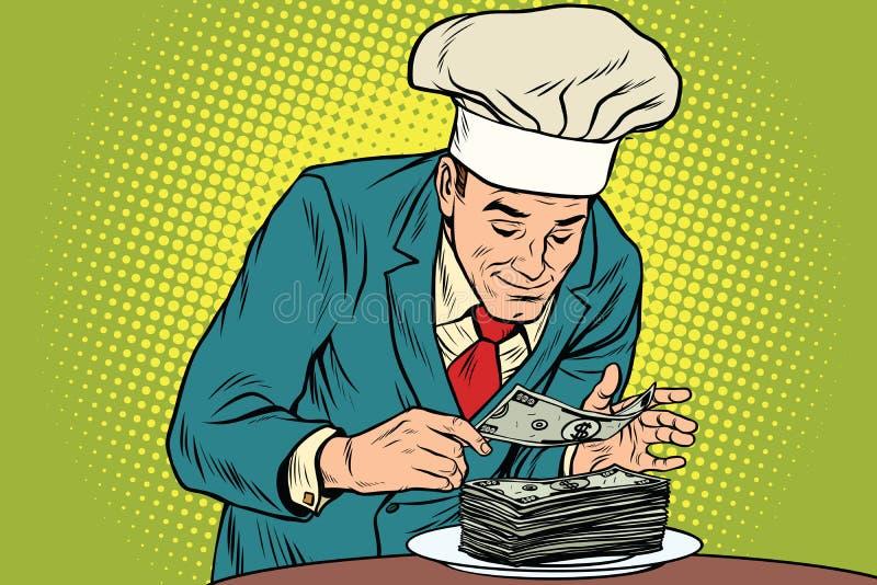 Zakenmanchef-kok en het definitieve bankbiljet royalty-vrije illustratie