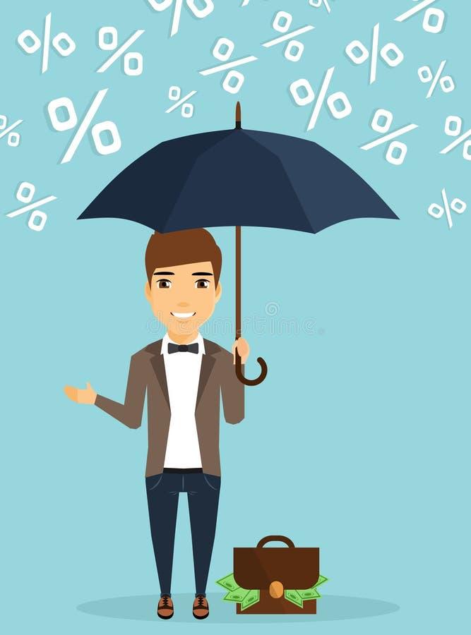 Zakenmanconcept het beschermen van kapitaal tegen de regen van percenten vector illustratie