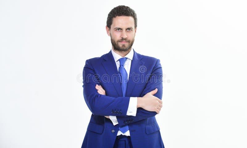 Zakenmanconcept Zekere die zakenman op witte achtergrond wordt geïsoleerd Gebaarde zakenman in formeel kostuum succesvol royalty-vrije stock fotografie