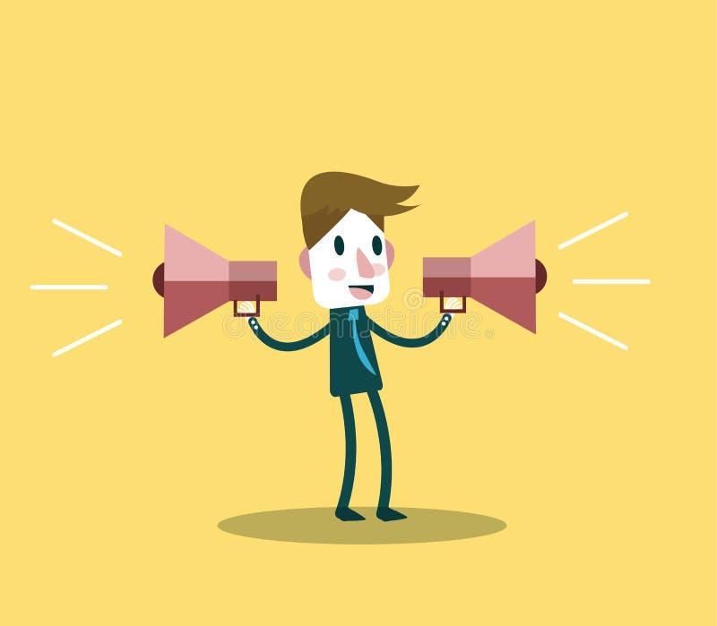Zakenmangebruik twee luidspreker op de markt brengend en adverteer concept royalty-vrije illustratie