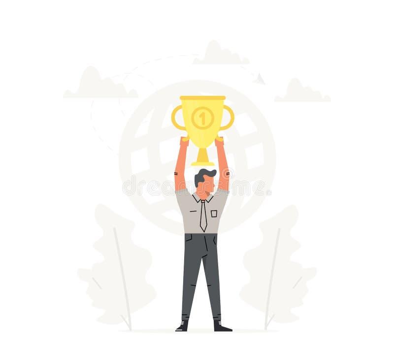 Zakenmangreep de grote gouden trofee lucht Vector start bedrijfsillustratie Succes, kampioen, overwinning vector illustratie