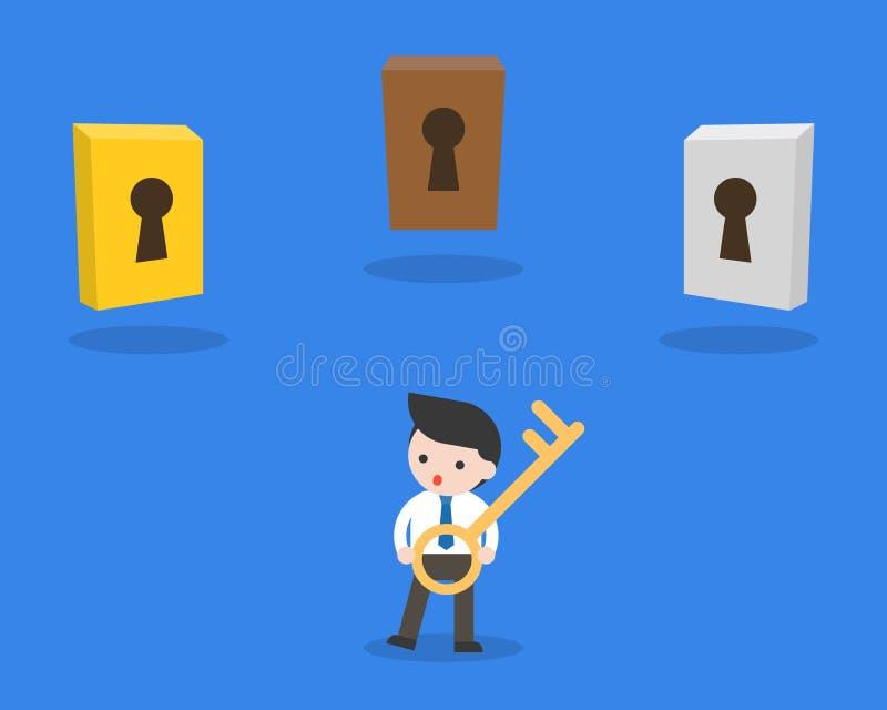 Zakenmangreep een sleutel met verschillend sleutelgat drie die, deci maken royalty-vrije illustratie