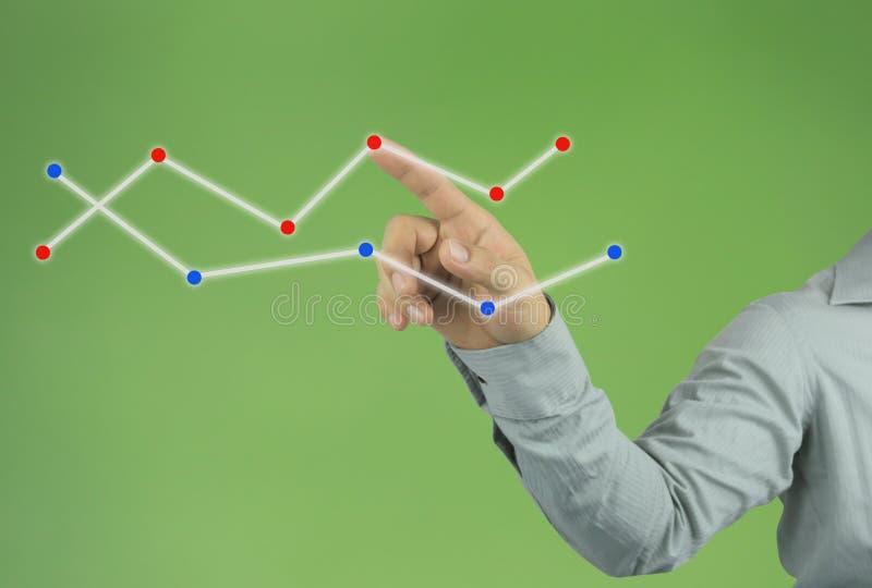 zakenmanhand die aan de hoogste lijn van een grafiek op groene bedelaars richten stock afbeelding