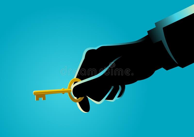 Zakenmanhand die een gouden sleutel houden royalty-vrije illustratie