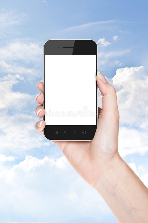 Zakenmanhand die een mobiele telefoon met het lege scherm houden stock fotografie