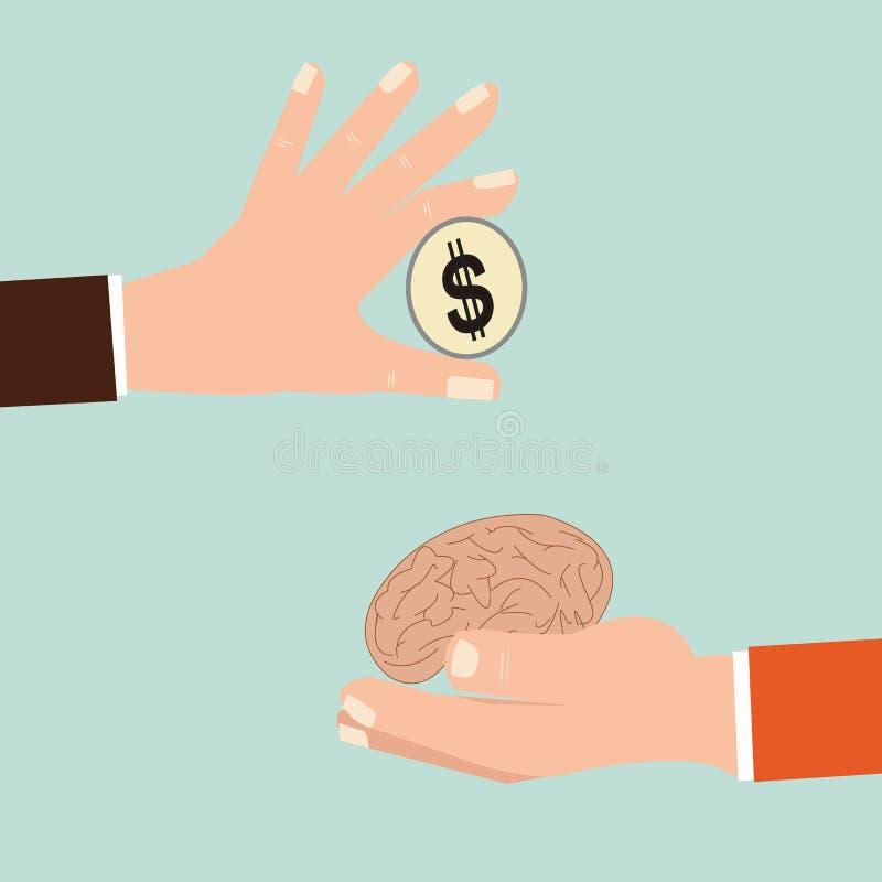 Zakenmanhand die menselijk hersenen en geld ruilen stock illustratie