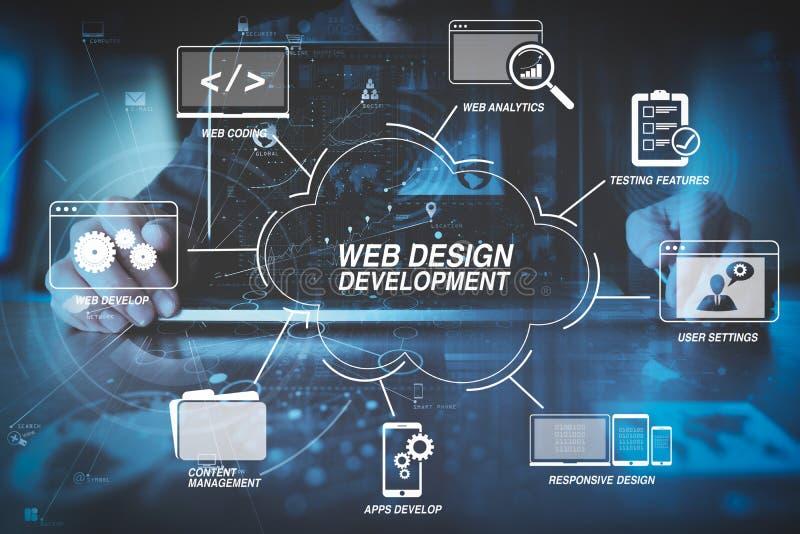 zakenmanhand die met moderne laptop computer in modern o werken royalty-vrije illustratie