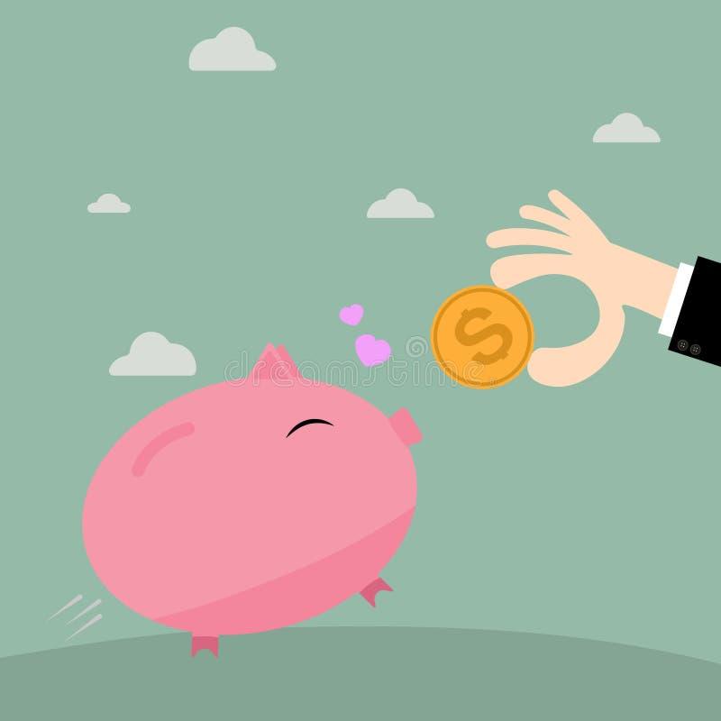 Zakenmanhand die muntstuk zetten in spaarvarken vector illustratie