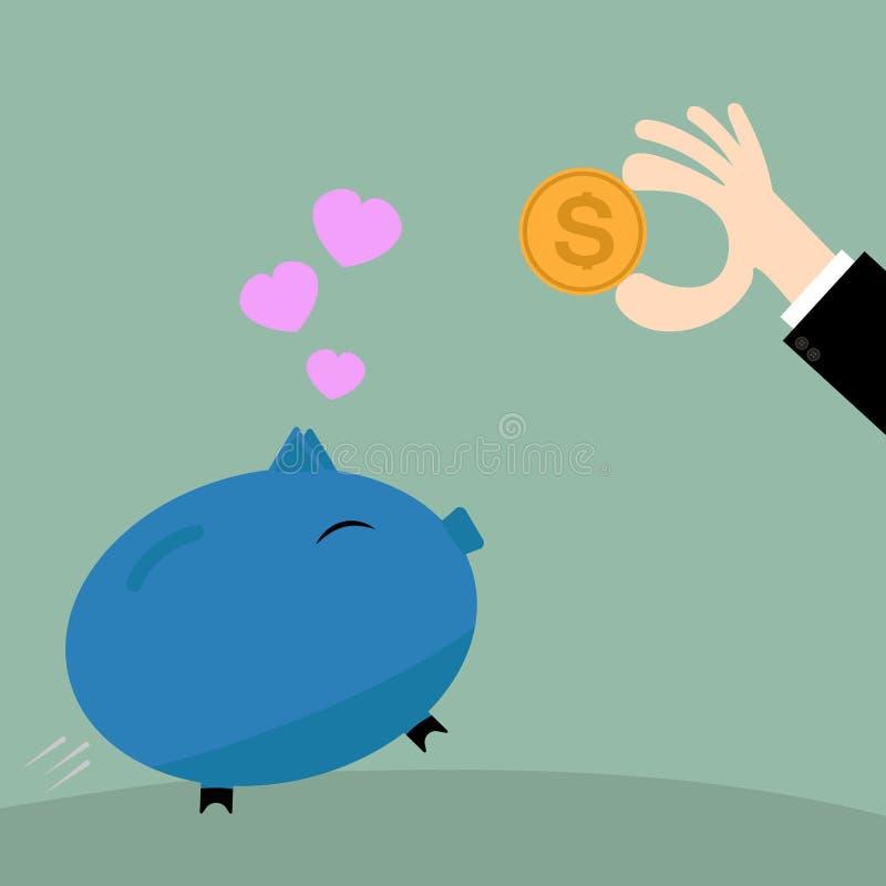 Zakenmanhand die muntstuk zetten in spaarvarken, bedrijfsconcept royalty-vrije illustratie