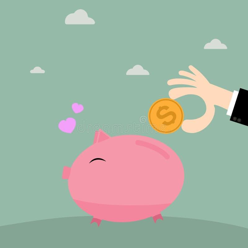 Zakenmanhand die muntstuk zetten in spaarvarken, bedrijfsconcept in besparingsgeld stock illustratie