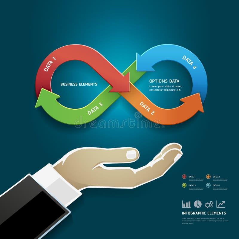 Zakenmanhand met het symbool van de strategieoneindigheid. stock illustratie