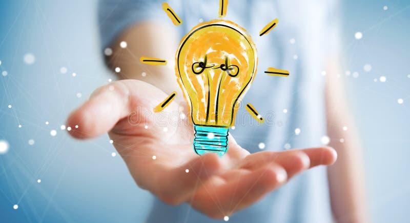 Zakenmanholding en wat betreft een lightbulbschets vector illustratie