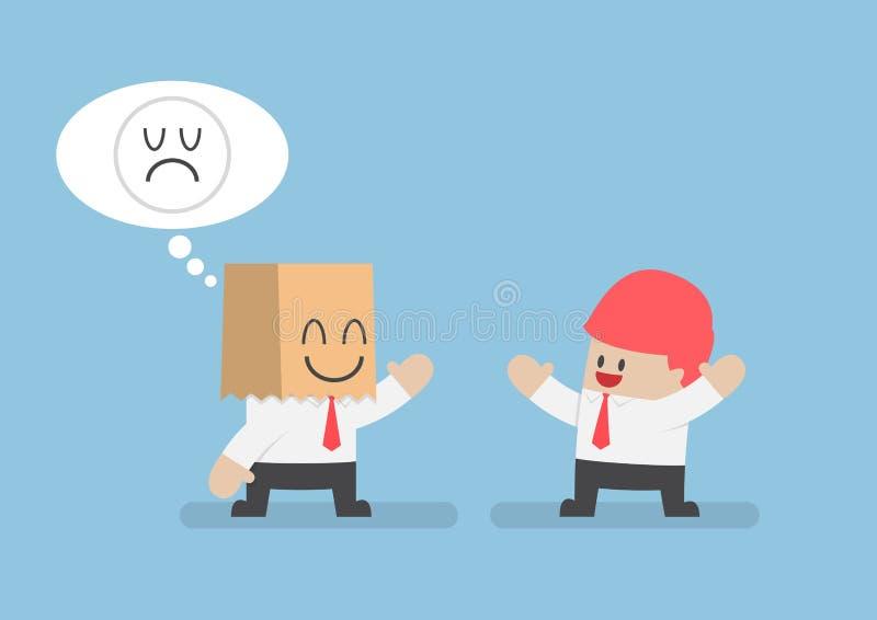 Zakenmanhuid zijn droevige emoties achter een het glimlachen document zak vector illustratie