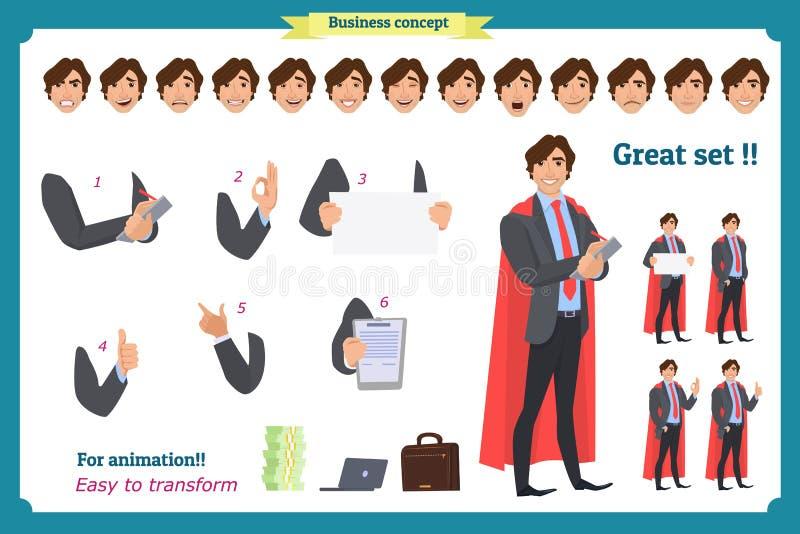 Zakenmankarakter Mens in pak vector illustratie