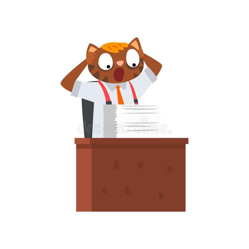 Zakenmankat die heel wat werk, grappig vermenselijkt dierlijk beeldverhaalkarakter hebben die met documentenvector werken stock illustratie