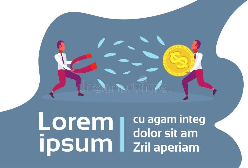 Zakenmanmagneet die van het de dollarmuntstuk van de mensenholding ruimte van het het concepten vlakke horizontale exemplaar stea stock illustratie