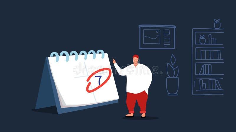 Zakenmanmanager die en zakelijke bewerkingenagenda op de grote kalendermens plant plant die benoemingsuiterste termijn maakt vector illustratie
