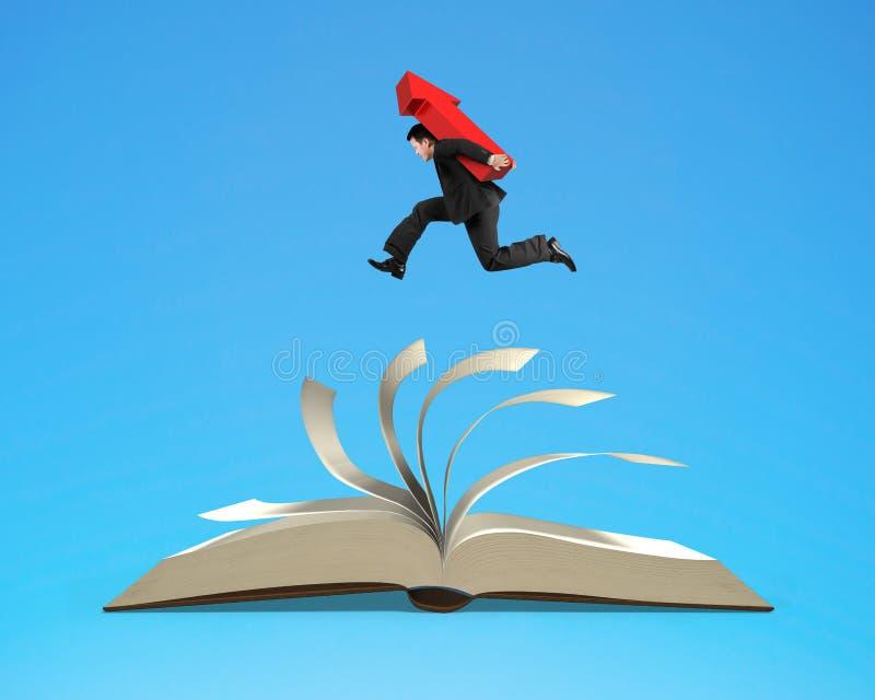 Zakenmanmens die rood pijlteken dragen die op open boek lopen vector illustratie