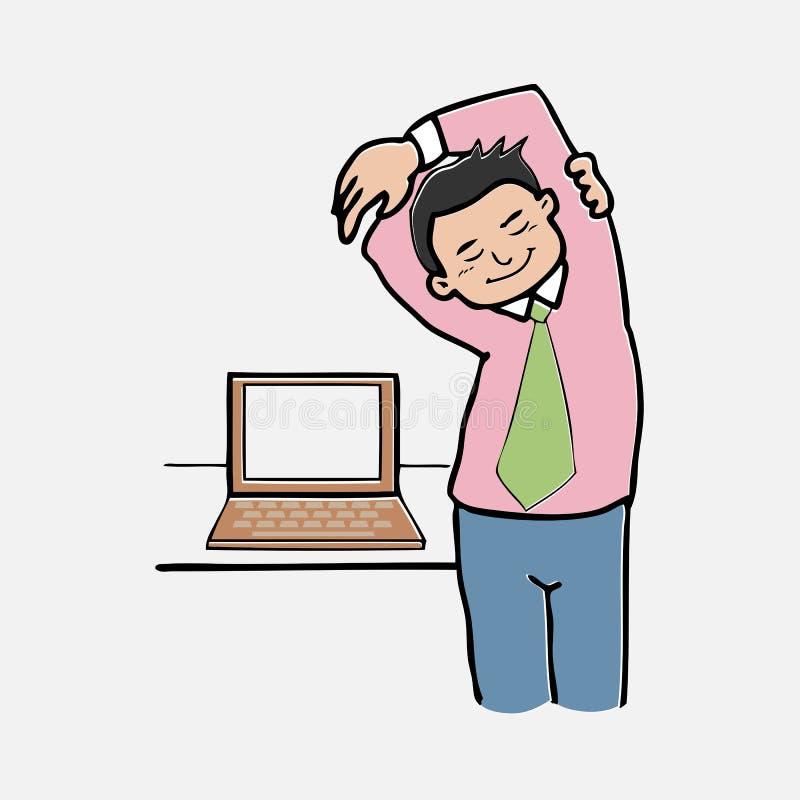 Zakenmanoefening terwijl het werk stock illustratie