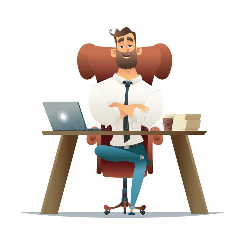 Zakenmanondernemer die aan een laptop computer bij zijn bureau werken De vectorillustratie van de beeldverhaalstijl Manager  stock illustratie