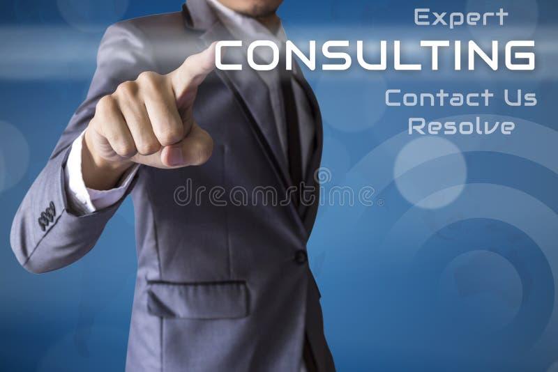 Zakenmanpers het Raadplegen van conceptuele zaken stock afbeelding