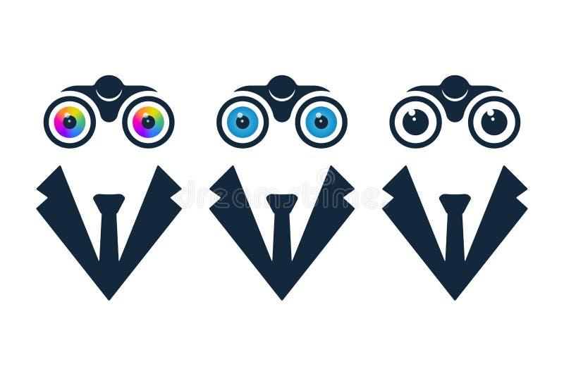Zakenmanpictogrammen met verrekijkers vector illustratie