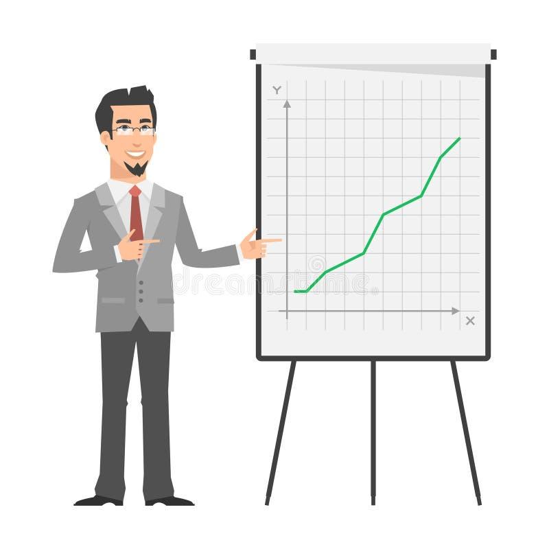 Zakenmanpunten op tik-grafiek stock illustratie
