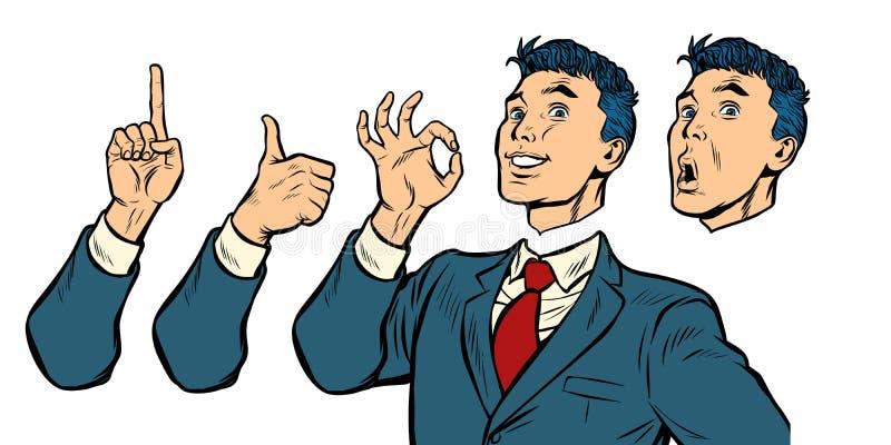 Zakenmanreeks gebaren en emoties stock illustratie