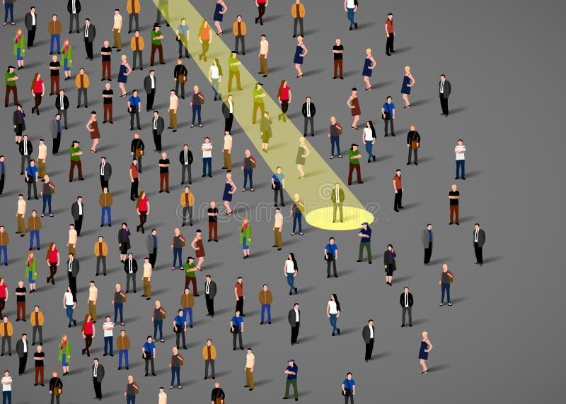 Zakenmanschijnwerper Menselijke hulpbron en rekrutering De bedrijfsmensen huren concept vector illustratie